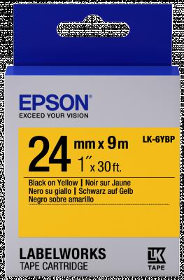 Etikettenkassette LK-6YBP - Pastell - schwarz auf gelb - 24mmx9m