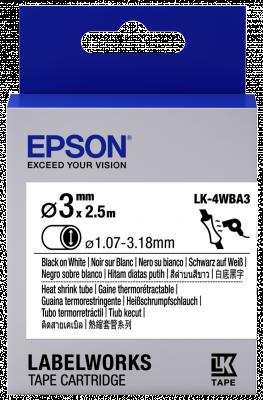 Etikettenkassette LK-4WBA3 - Schrumpfschlauch - schwarz auf weiß - 3mm Durchmesser (2,5m)