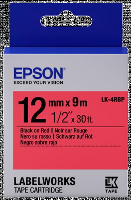 Etikettenkassette LK-4RBP - Pastell - schwarz auf rot - 12mmx9m