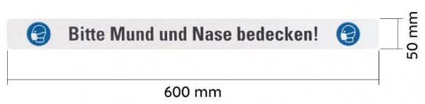 """WT-5125BF Warnband bedruckt """"Bitte Mund und Nase bedecken"""" 50mmx600mm"""