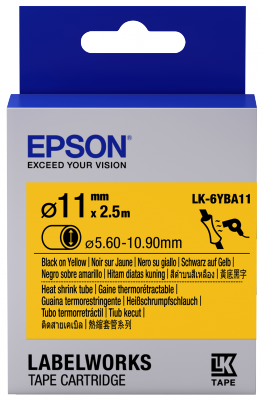Etikettenkassette LK-6YBA11 - Schrumpfschlauch - schwarz auf gelb - 11mm Durchmesser (2,5m)