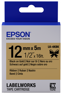 Etikettenkassette, Satinband LK-4KBK Schwarz/Gold 12mm (5m)