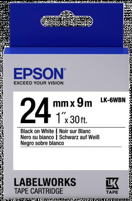 Etikettenkassette LK-6WBN - Standard - schwarz auf weiß - 24mmx9m