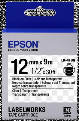 Etikettenkassette LK-4TBN - Transparent - schwarz auf transparent - 12mmx9m