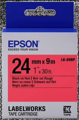 Etikettenkassette LK-6RBP - Pastell - schwarz auf rot - 24mmx9m