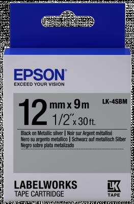 Etikettenkassette LK-4SBM - Metallisch - schwarz auf silber - 12mmx9m