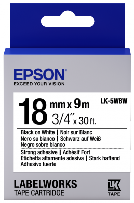 Etikettenkassette LK-5WBW - Stark haftend - schwarz auf weiß - 18mmx9m