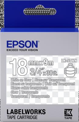 Etikettenkassette LK-5TWN - Transparent - weiß auf transparent - 18mmx9m