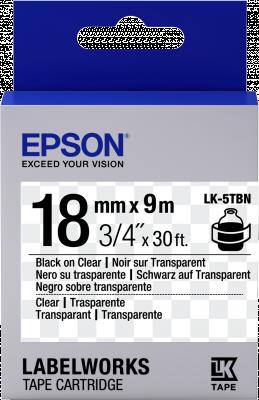 Etikettenkassette LK-5TBN - Transparent - schwarz auf transparent - 18mmx9m
