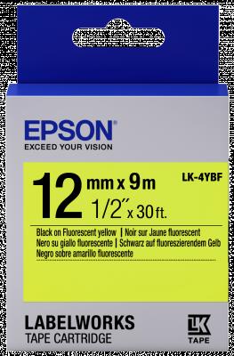 Etikettenkassette LK-4YBF - Fluoreszierend - schwarz auf gelb - 12mmx9m