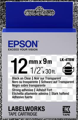 Etikettenkassette LK-4TBW - Stark haftend - schwarz auf transparent - 12mmx9m