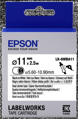 Etikettenkassette LK-6WBA11 - Schrumpfschlauch - schwarz auf weiß - 11mm Durchmesser (2,5m)