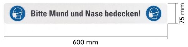 """WT-5125BF Warnband bedruckt """"Bitte Mund und Nase bedecken"""" 75mmx600mm-Copy"""