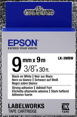 Etikettenkassette LK-3WBW - Stark haftend - schwarz auf weiß - 9mmx9m