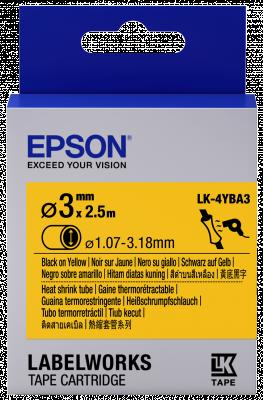 Etikettenkassette LK-4YBA3 - Schrumpfschlauch - schwarz auf gelb - 3mm Durchmesser (2,5m)