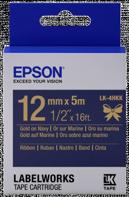 Etikettenkassette, Satinband LK-4HKK Gold/Navyfarben 12mm (5m)