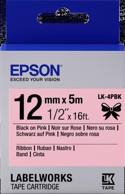 Etikettenkassette, Satinband LK-4PBK Schwarz/Pink 12mm (5m)