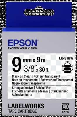 Etikettenkassette LK-3TBW - Stark haftend - schwarz auf transparent - 9mmx9m