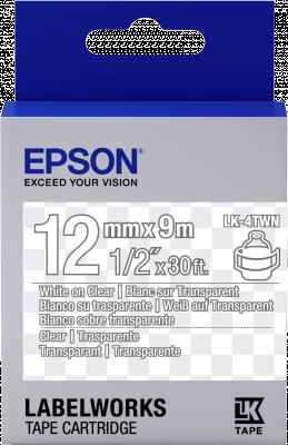 Etikettenkassette LK-4TWN - Transparent - weiß auf transparent - 12mmx9m