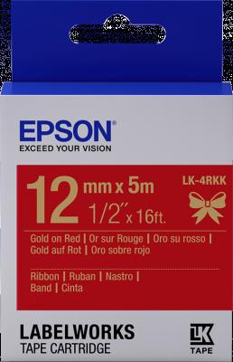Etikettenkassette, Satinband LK-4RKK Gold/Rot 12mm (5m)