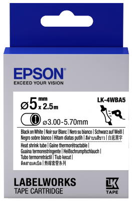 Etikettenkassette LK-4WBA5 - Schrumpfschlauch - schwarz auf weiß - 5mm Durchmesser (2,5m)