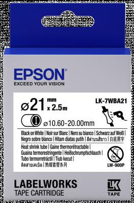 Etikettenkassette LK-7WBA21 - Schrumpfschlauch - schwarz auf weiß - 21mm Durchmesser (2,5m)