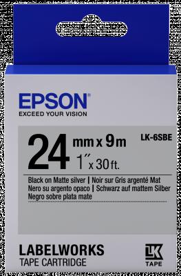 Etikettenkassette LK-6SBE - Matt - schwarz auf matt silber - 24mmx9m