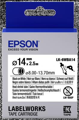 Etikettenkassette LK-6WBA14 - Schrumpfschlauch - schwarz auf weiß - 14mm Durchmesser (2,5m)