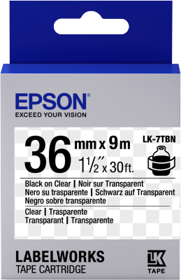 Etikettenkassette LK-7TBN - Transparent - schwarz auf transparent - 36mmx9m