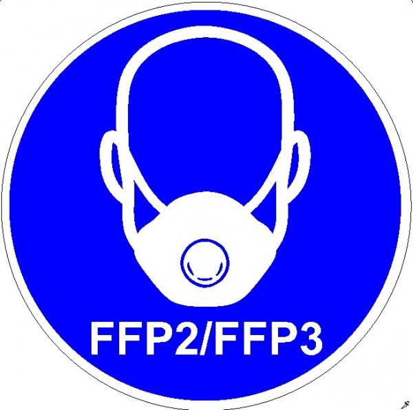 Mundschutzanlegen FFP2/FFP3 Frontansicht rund