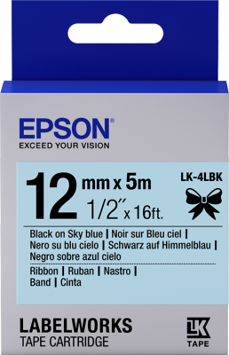 Etikettenkassette, Satinband LK-4LBK Schwarz/Himmelblau 12mm (5m)