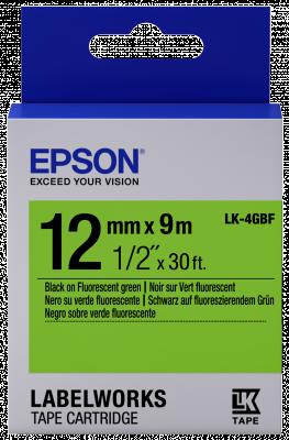 Etikettenkassette LK-4GBF - Fluoreszierend - schwarz auf grün - 12mmx9m