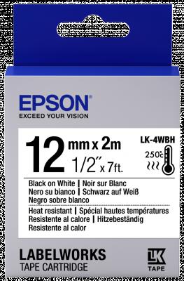 Etikettenkassette LK-4WBH - Hitzebeständig - schwarz auf weiß - 12mmx2m