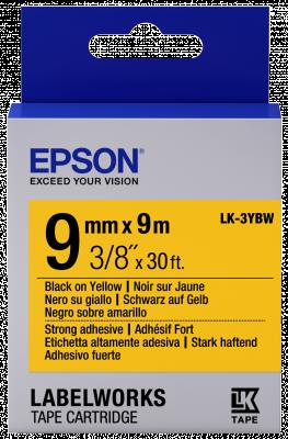 Etikettenkassette LK-3YBW - Stark haftend - schwarz auf gelb - 9mmx9m