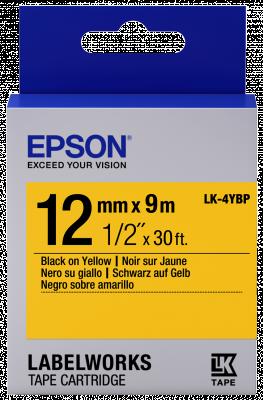 Etikettenkassette LK-4YBP - Pastell - schwarz auf gelb - 12mmx9m