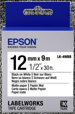 Etikettenkassette LK-4WBB - mattes Papier - schwarz auf weiß - 12mmx9m