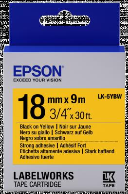 Etikettenkassette LK-5YBW - Stark haftend - schwarz auf gelb - 18mmx9m
