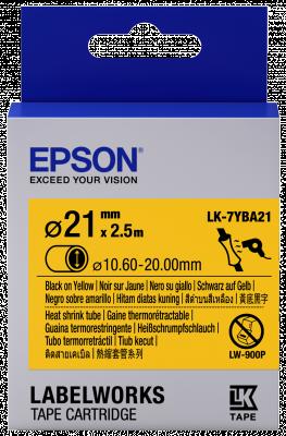 Etikettenkassette, Schrumpfschlauch (Heat Shrink Tube, HST) LK-7YBA21 Schwarz/Gelb, 21mm Durchmesse