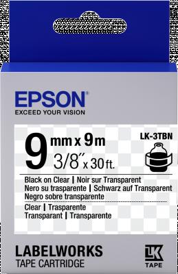Etikettenkassette LK-3TBN - Transparent - schwarz auf transparent - 9mmx9m