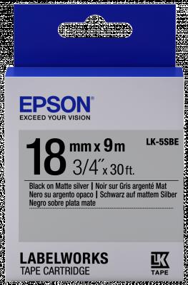 Etikettenkassette LK-5SBE - Matt - schwarz auf matt silber - 18mmx9m