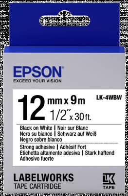 Etikettenkassette LK-4WBW - Stark haftend - schwarz auf weiß - 12mmx9m