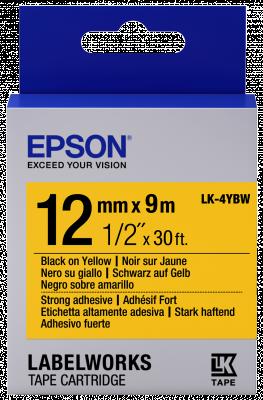 Etikettenkassette LK-4YBW - Stark haftend - schwarz auf gelb - 12mmx9m