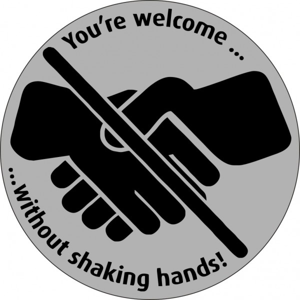 You're welcome … without shaking hands! rund 10cm