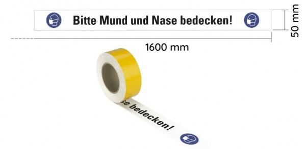 """WT-5229.2 PET Warnband bedruckt """"Bitte Mund und Nase bedecken 50mm x 16m, Seitenansicht, Rolle"""