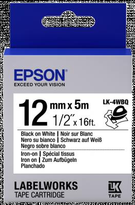 Etikettenkassette LK-4WBQ - zum Aufbügeln - schwarz auf weiß - 12mmx5m