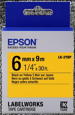 Etikettenkassette LK-2YBP - Pastell - schwarz auf gelb - 6mmx9m